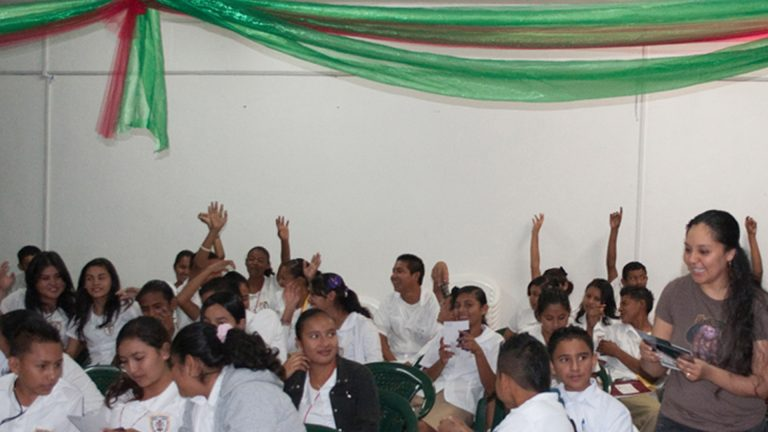 Presenting to students at Escuella Mexico High School in Belize.