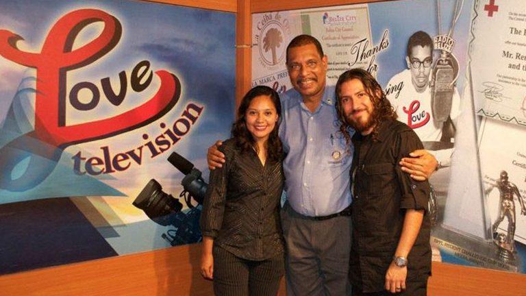 "GrissyG and Dismas with ""Belize Watch"" host, Rene Villanueva Sr., LoveTV, Belize"