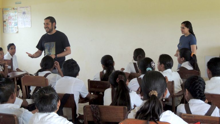 GrisDismation present Legends of Belize to students at Xaibe Elementary in Belize.